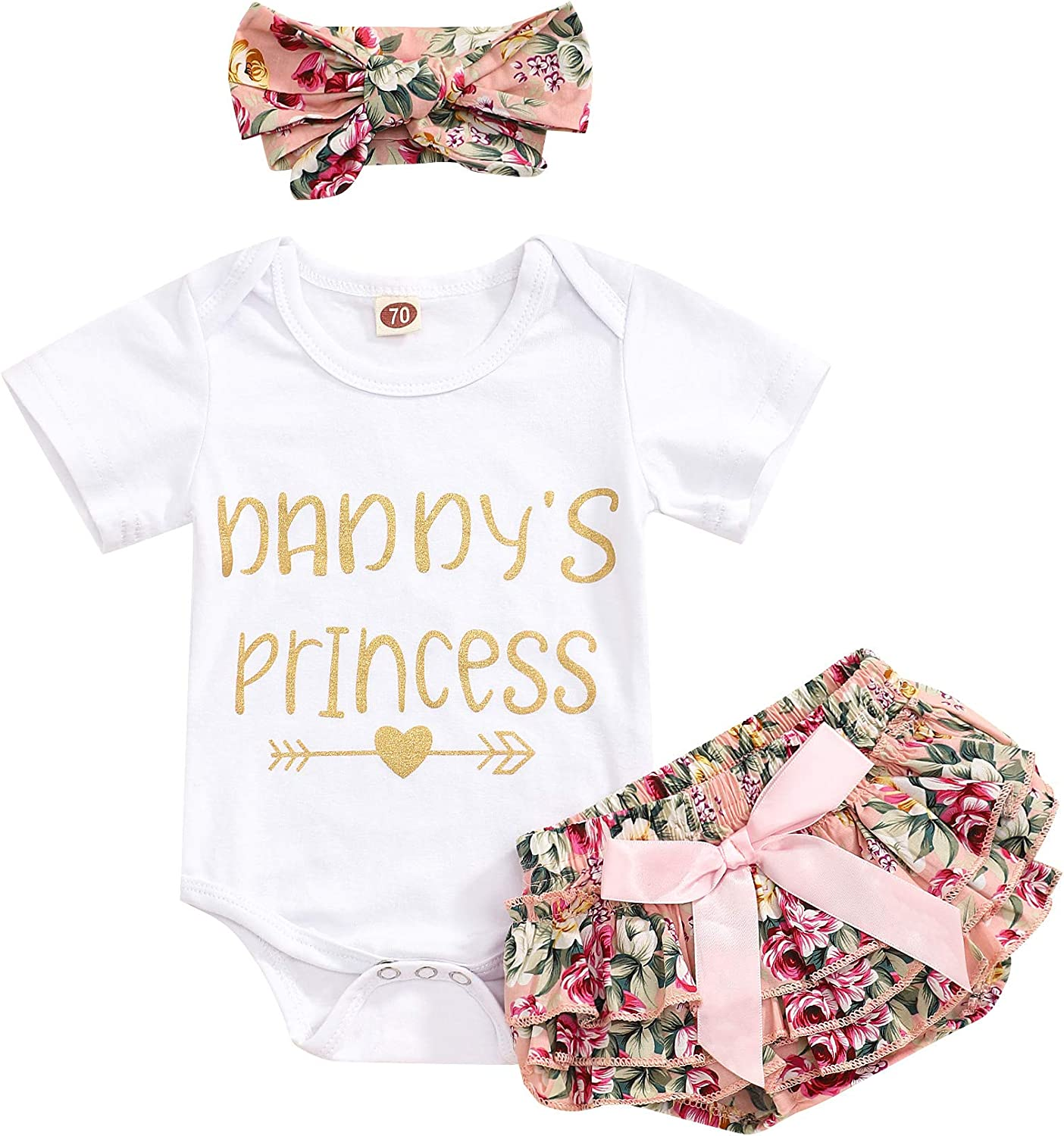 Newborn Baby Girl Summer Clothes Outfits Daddys Little Girl Short Sleeve Romper Infant Floral Shorts Set 3Pcs