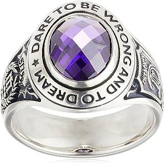 [多蒙罗] Dr MONROE 窄短信息学院戒指 925银 紫水晶 彩色立方体