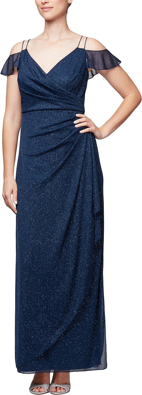 Alex Evenings Womens ColdShoulder Dress (Petite and Regular)