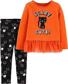 Toddler Girls Orange Black Cat Kitten Sparkle Glitter Tutu 2 Pc Set