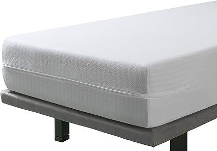 SAVEL - Funda de Colchón elástica y Transpirable | 135 x 190/200cm | Protector/Cubre colchon Ajustable con Cremallera. Tejido Resistente de algodón. ...