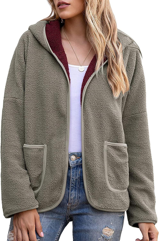 Women's Bubble Fleece Hooded Sweatshirt Solid Soldering Casual Color Open safety