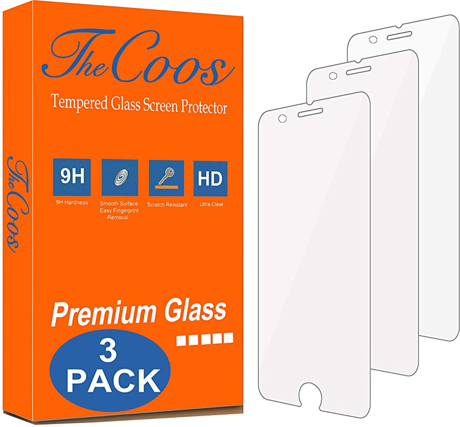 TheCoos [3-Pack] Tempered Glass Screen Protector for Apple iPhone 8 Plus and iPhone 7 Plus