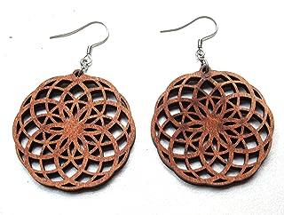 Torus Vortex Seed of Life Mandala Wood Dangle Earrings, Crop Circles, Sacred Geometry Jewelry