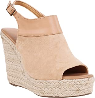 136424089154 Syktkmx Womens Espadrille Platform Wedge Heel Peep Toe Ankle Strap  Slingback Suede Sandals