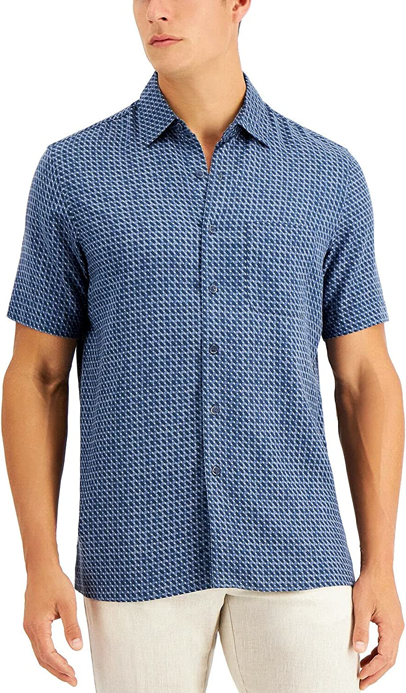 Tasso Elba Mens San Antonio Mall Shirt SEAL limited product Large Patrone Blu Geo Button Print Silk Up