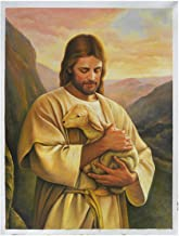 Jesus Christ with Lamb hand-painted oil painting, The Lost Lamb, Church Wall Artwork Decorations, Portrait of Man with animal (48 x 36 in.)