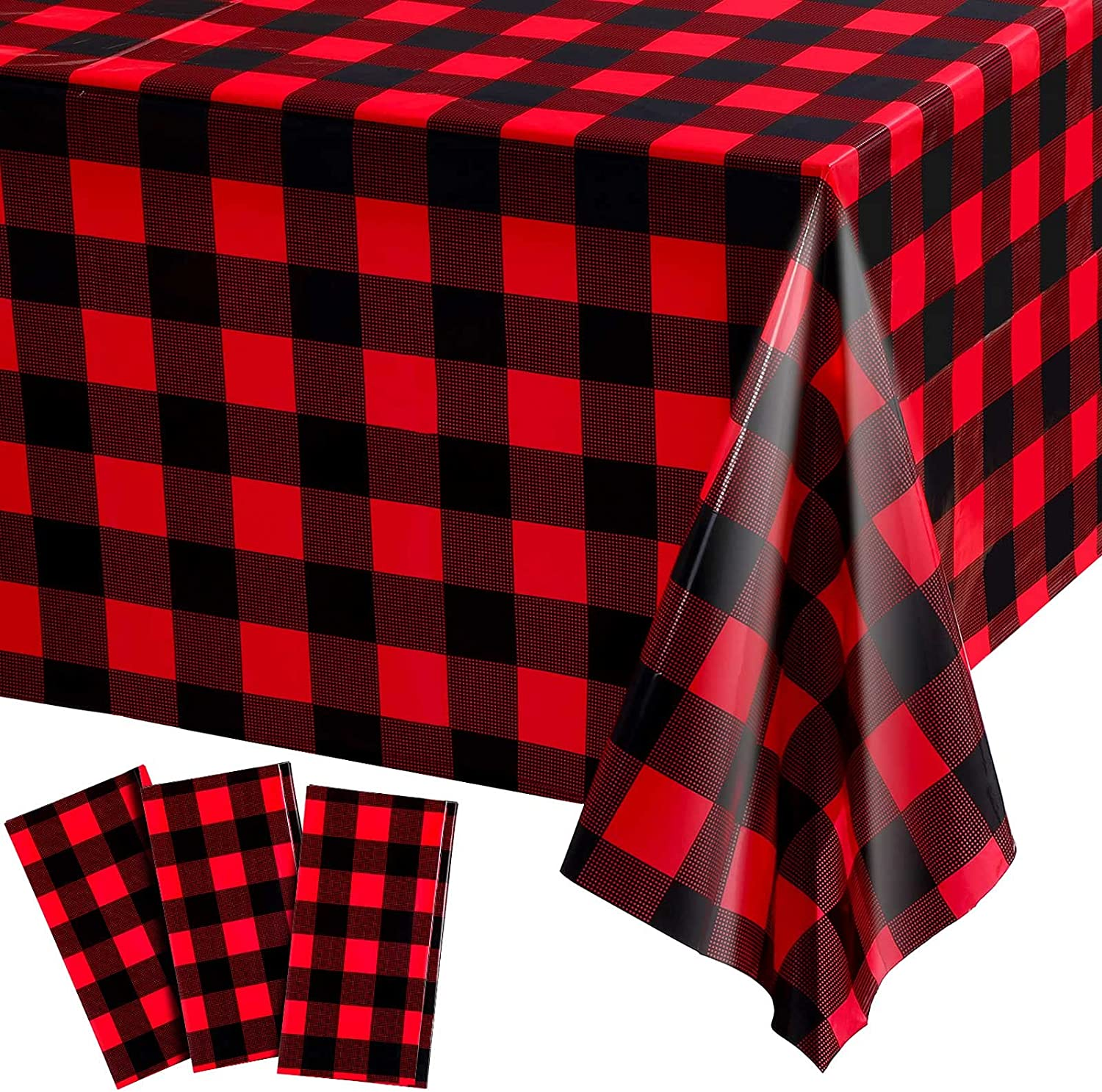 3 Pack Buffalo Plaid Table Covers, Red and Black Lumberjack Checkered Tablecloth Plastic Gingham Table Cover Disposable Christmas Table Cloth for Picnic, Camping, Holiday Table Decor, 108 x 54 Inch