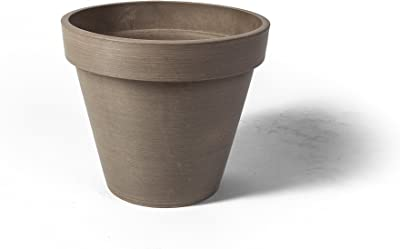 "Algreen Valencia Round Band Planter Pot,14"" x 12-Inch Height, Textured Taupe"