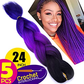 purple ombre hair black girl
