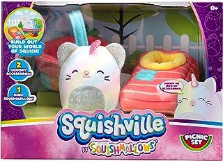 """Squishville by Squishmallows Mini Plush Room Accessory Set, Picnic, 2"""" Soft Mini-Squishmallow and 2 Plush Accessories, Mar..."""