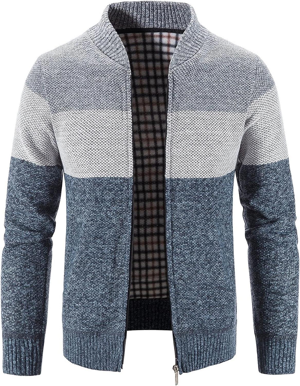 Mens Classic Soft Knitted Cardigan Sweaters Zipper Long Sleeve Sweater Outwear Coat jacket Blue