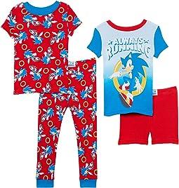 Sonic Four-Piece Short Sleeve Cotton Set (Little Kids/Big Kids)