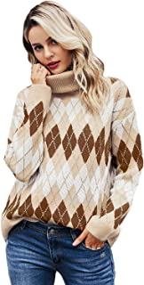 Milumia Womens Turtleneck Long Sleeve Stripe Ribbed Cable Knit Loose Pullover Tops Sweater