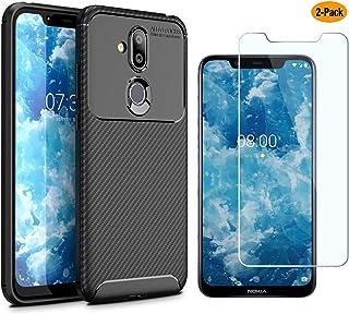 MYLB-US Nokia 8.1 case and Screen Protector, [3 in 1] Ultra-Thin high-Grade Soft TPU Silicone case Carbon Fiber Design case, Suitable for Nokia 8.1 Smartphone case(Black) Nokia 8.1