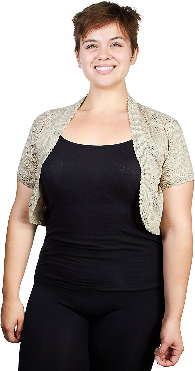 Knit Minded Womens Fine Gauge Diamond Pattern Pointelle Shrug (See More Colors and Sizes)