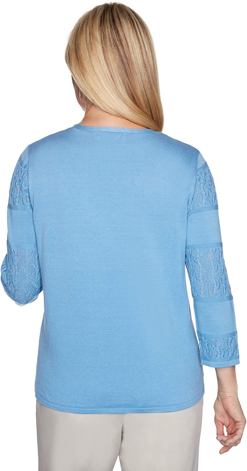 Alfred Dunner Womens Biadere Pointelle Cardigan Sky Blue