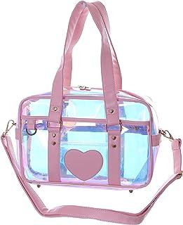 LB-6024 Hologram Durchsichtig Reflektierend Rosa Herz Kunststoff Messenger Trage Sport Umhänge Tasche