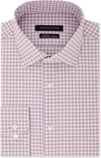 Tommy Hilfiger Mens Dress Shirt Purple White US Size 16 1/2 Check Print