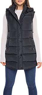 S.E.B. by SEBBY Women's Long Puffer Vest, Quilted Faux Down Filled Hooded Vest for Fall and Winter