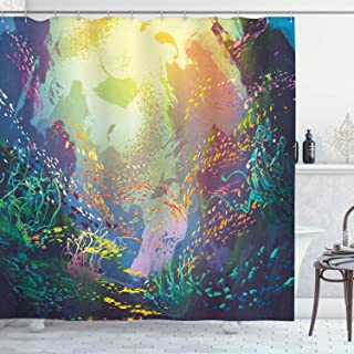 Ambesonne Sea Animals Shower Curtain, Underwater with Coral Reef and Colorful Fish Aquarium Print, Cloth Fabric Bathroom Decor Set with Hooks, 70