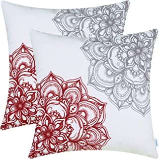 CaliTime Pack of 2 Cozy Fleece Throw Pillow Cases Covers for Couch Bed Sofa Vintage Dahlia Floral Both Sides 18 X 18 Inches Dark Red Grey