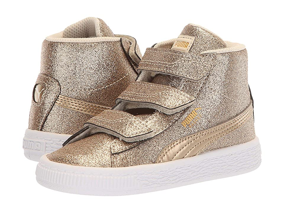 Puma Kids Basket Mid Strap Glitz V Inf (Toddler) (Birch) Girls Shoes