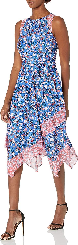 Vince Camuto Women's Printed Midi Uneven Handkerchief Hem Dress