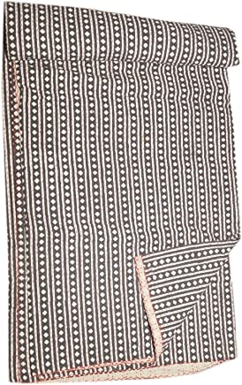 Tribal Asian Textiles Banjara Textile Ajrakh Block Print Kantha Bedspread,  Handmade Kantha Quilt