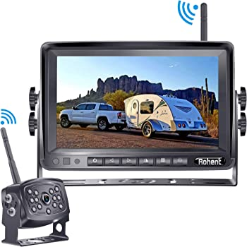 Rohent HD 960P Digital Wireless Backup Camera with 7''Monitor High-Speed Observation System for RVs,Trucks,Trailers,Campers Hitch Rear View Camera Super Night Vision with Grid Lines DIY Setting-R9