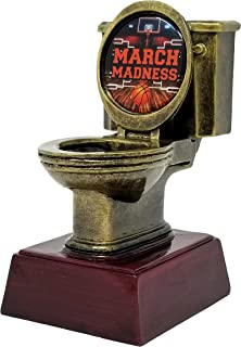 Decade Awards Gold Toilet Bowl March Madness Loser Bracket Trophy - Basketball Last Place Award - 6 Inch Tall - Customize Now