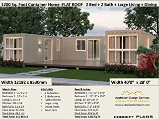 Beautiful 2-bedroom Home Shipping Container Home Concept Plans- 3 Shipping Containers: Concept plan includes detailed floor plan and elevation plans