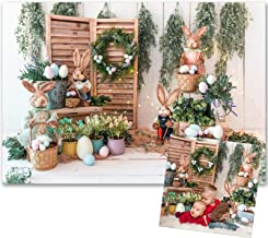 Sponsored Ad - VEOEOV Photography Backdrop, 7X5FT Spring Easter Backdrop Colorful Eggs Cute Rabbit Wood Backdrop for Photo...