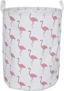 CLOCOR Large Storage Bin-Cotton storage Basket-Round Gift Basket with Handles for Toys,Laundry,Baby Nursery (White flamingo)