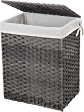 SONGMICS Handwoven Laundry Basket, Synthetic Rattan Wicker Clothes Hamper with Lid and Handles, Foldable, Removable Liner Bag, Stable Iron Frame, 90L, Gray ULCB51WG