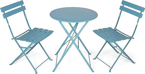 Vanage - Table Bistro avec chaises - Table et chaises pliantes - Salon de jardin 3 pièces - Parfait pour Balcon, Tera...