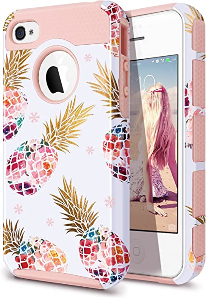 Fingic iPhone 4 Case,iPhone 4S Case,iPhone 4/4S Case with Pineapple, Floral Pineapple Case Hard PC&Soft Rubber Protective Case Cover for for iPhone ...