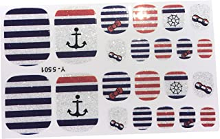 22 Glitter Nautical Navy Red White Blue Stripe Bow Toe Nail Wrap Decals Sticker Kawaii - 1 Sheet