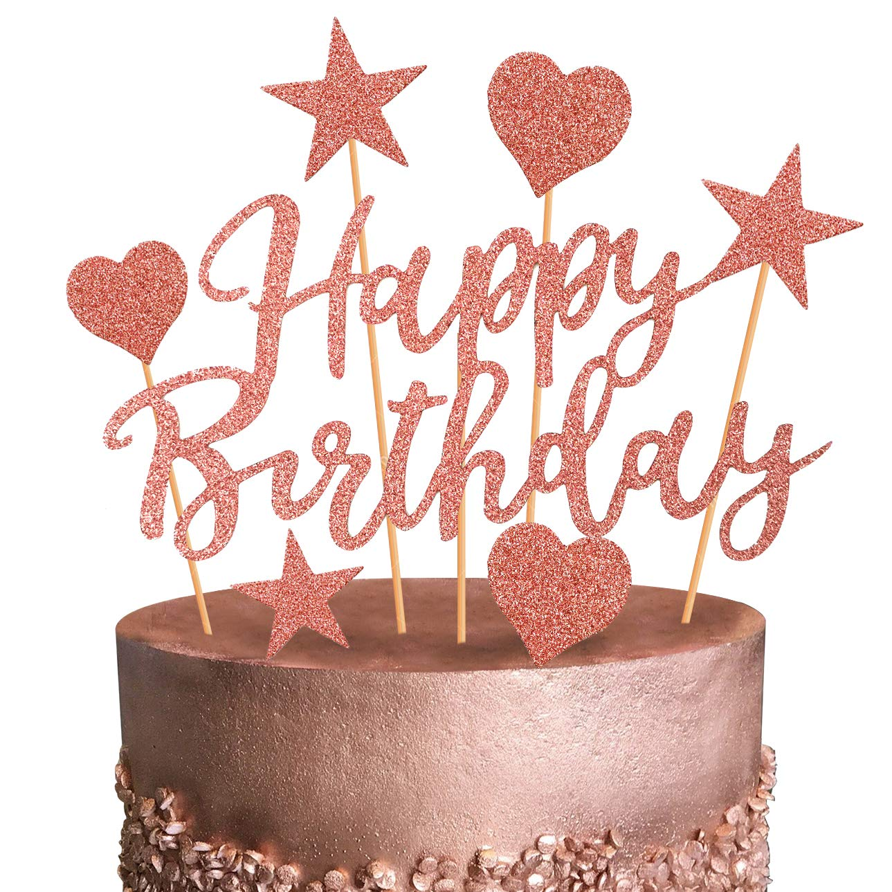 Glittered Rose Gold Happy Birthday Candles