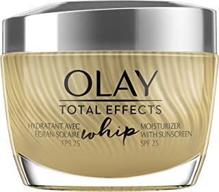 Light Face Moisturizer with SPF 25 by Olay Total Effects Whip, For Healthy Skin with Vitamins C, E, B3 & B5, 1.7 oz
