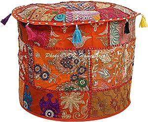 DK Homewares Pouf Rond Traditionnel Pouf Cache-Pouf de Salon en Coton brodé Orange avec Repose-Pieds décoratif Pouf Repose-Pieds | (22x22x14 Pouces / 55 cm) | Couvert Uniquement