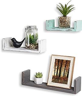 MyGift Set of 3 Mixed-Color Rustic Wood Floating U Shelves