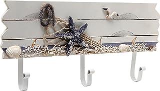 MyGift Oceanic Coastal White Sandy Beach Style Starfish, Seagull & Seashells Wood 3..