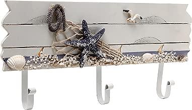 MyGift Oceanic Coastal White Sandy Beach Style Starfish, Seagull & Seashells Wood 3 Metal Coat Hooks Wall Rack