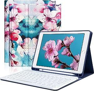 iPad Keyboard Case 9.7 for iPad 6th Generation 2018 iPad 5th Gen 2017 iPad Pro 9.7 iPad Air 2 Air 1 with Pencil Holder Bluetooth Wireless Detachable Keyboard iPad 9.7 Flower Case Cover with Keyboard