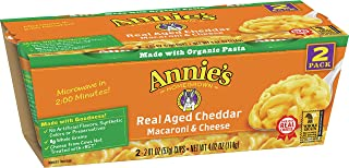 Annie's Real Aged Cheddar Macaroni & Cheese, Microwavable Mac and Cheese, 4.02 oz (Pack of 6)
