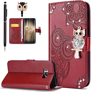 Galaxy S8 Plus Case,Galaxy S8 Plus Cover,ikasus Bling Diamonds Glitter Embossing Mandala Owl PU Leather Fold Wallet Flip Stand Protective Case Cover + Dust Plug & Stylus for Samsung Galaxy S8 Plus,Red