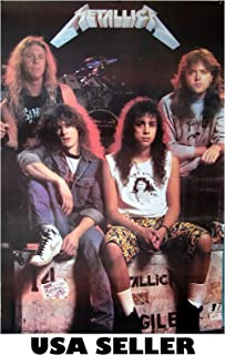 Metallica early years long hair vert POSTER 23.5 x 34 hard rock metal icons (sent FROM USA in PVC pipe)