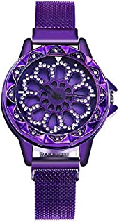Purple color ladies hand watch plus rotating dial it is new concept with eye-attracting appearance ساعة يد أنيقة مرصعة بال...