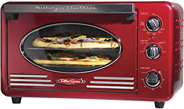 Nostalgia RTOV2RR Large-Capacity 0.7-Cu. Ft. Capacity Multi-Functioning Retro Convection Toaster Oven, Fits 12 Slices of B...